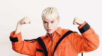 Jack Vidgen Posing in orange jumpsuit