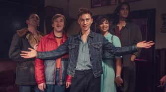 Olly Alexander Posing with co-stars of Its a Sin