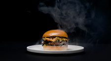 The Heston Fable Burger on a Black Background